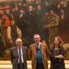 Claude Jeannerot, Guy Cogeval et Marie-Christine Labourdette (Directrice des Musées de France) devant la toile Un enterrement à Ornans au musée d'Orsay