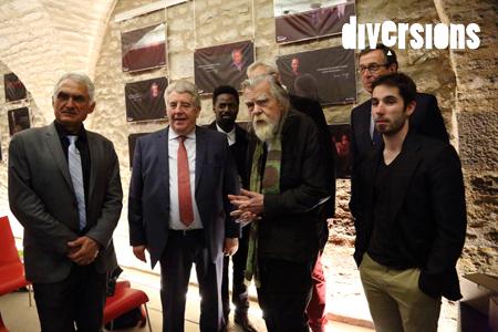 Au premier rang, Michel Redolfi, créateur du design sonore du Tram, Jean-Louis Fousseret, Michael Lonsdale et Quention Juy, comédien bisontin