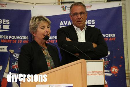 Marie-Guite Dufay, présidente de la région Bourgogne Franche-Comté, en compagnie de Patrick Melinoz, 5e vice-président - Photo : Caroline Vo Minh/Diversions