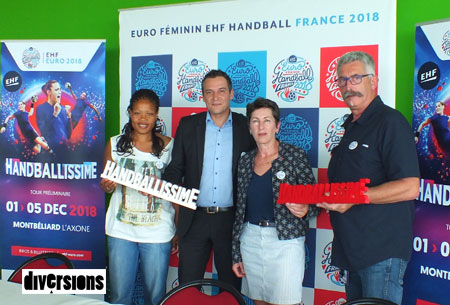 Myriam SAID MOHAMED joueuse internationale, Christophe FROPPIER, vice-président de  PMA, Sylvie PASCAL-LAGARRIGUE, présidente de l'Euro 2018 et  Marie Albert DUFFAIT présidente de la Ligue de Handball Bourgogne/Franche Comté