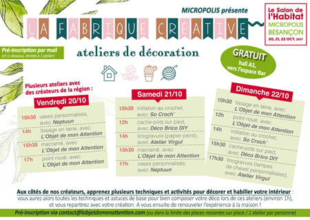 Ateliers déco au Salon de l'Habitat de Micropolis Besançon 2017