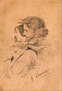 Gustave Courbet, Les Amants dans la campagne, vers 1867. Encre sur papier, 28,7 x 20 cm. Ornans, Musée Gustave Courbet Crédit Photo : Musée Courbet, Ornans