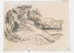 Gustave Courbet, Étude de paysage, vers 1874. Fusain sur papier, 25 x 35 cm. Ornans, Musée Gustave Courbet. Crédit Photo : Musée Courbet, Ornans