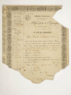 Passeport de Jean-Baptiste Capitaine, 1857 - Don Paul Capitaine, Musées départementaux Albert et Félicie Demard, 1951.2.37