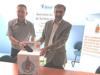 Stéphane Guyod, président de l'AMF 90,  et Cyprien Mateos, Délégué Régional d'Orange  en Franche-Comté